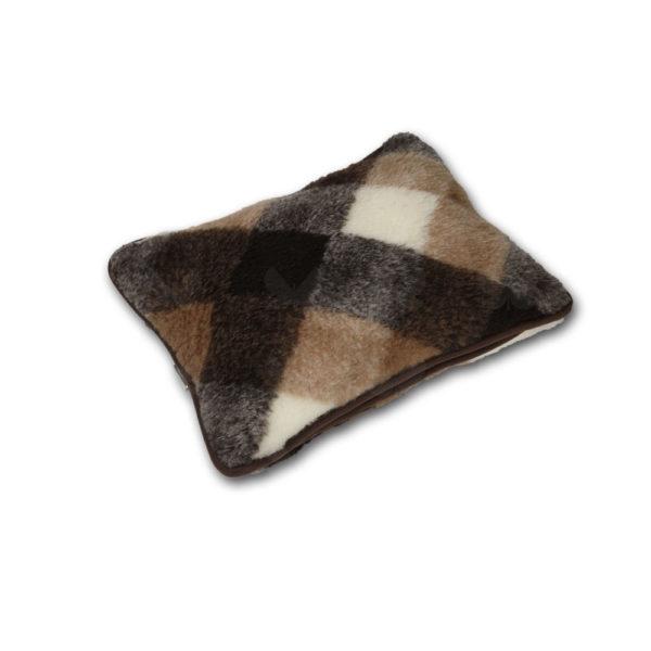 Brownie kockás kispárna - kasmír-merinó gyapjúból