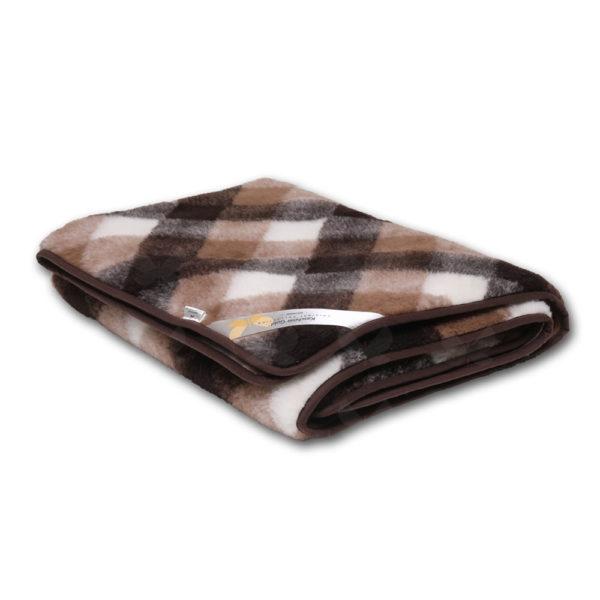 Barna-fehér kockás mintázatú takaró kasmír-merinó gyapjúból