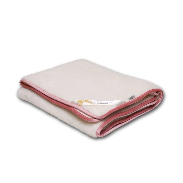 Favorit Baby, natúr színű takaró, rózsaszín szegéllyel, kasmír-merinó gyapjúból