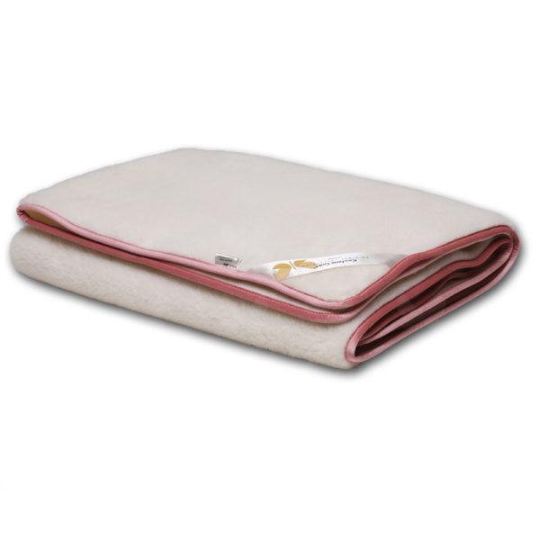 Favorit univerzális takaró, natúr színű, rózsaszín szegéllyel, kasmír-merinó gyapjúból