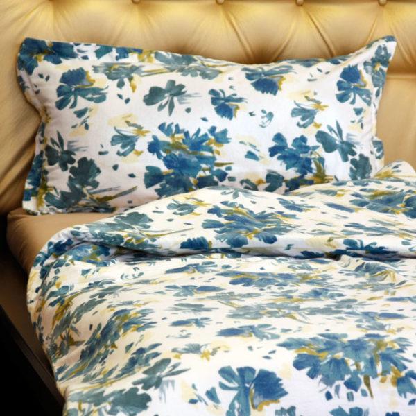 Flanel ágyneműhuzat, Kék virágos minta, 2 részes szett