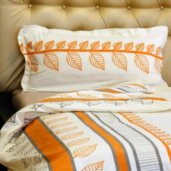 Flanel ágyneműhuzat, Orange levél, narancssárga minta, 2 részes szett