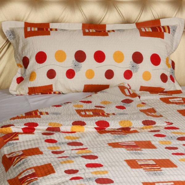 Krepp ágyneműhuzat, Mirtill orange, piros, narancs mintás, 2 részes szett