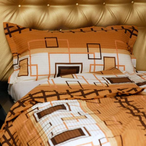 Krepp ágyneműhuzat, Pepe barna, barna-fehér alapon négyzet mintás, 2 részes szett