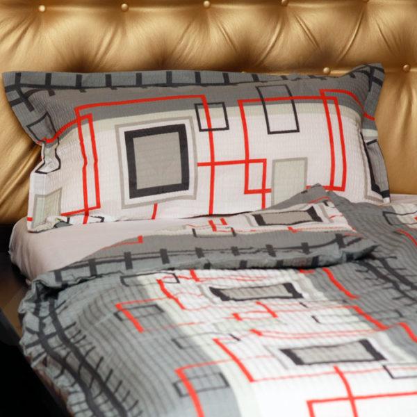 Krepp ágyneműhuzat, Pepe szürke, szürke-fehér alapon négyzet mintás, 2 részes szett